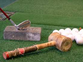 lead block and hammer used to adjust lie angle of club head