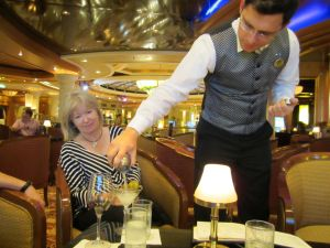 sampling the vodka in the Grand Europe Hotel