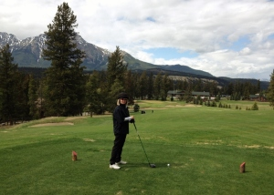 waiting to tee off on the 18th hole at Jasper Park Golf Club