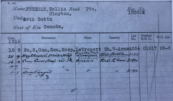 Pte Hollis hospital records