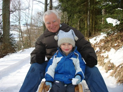 grandpa tobogganing